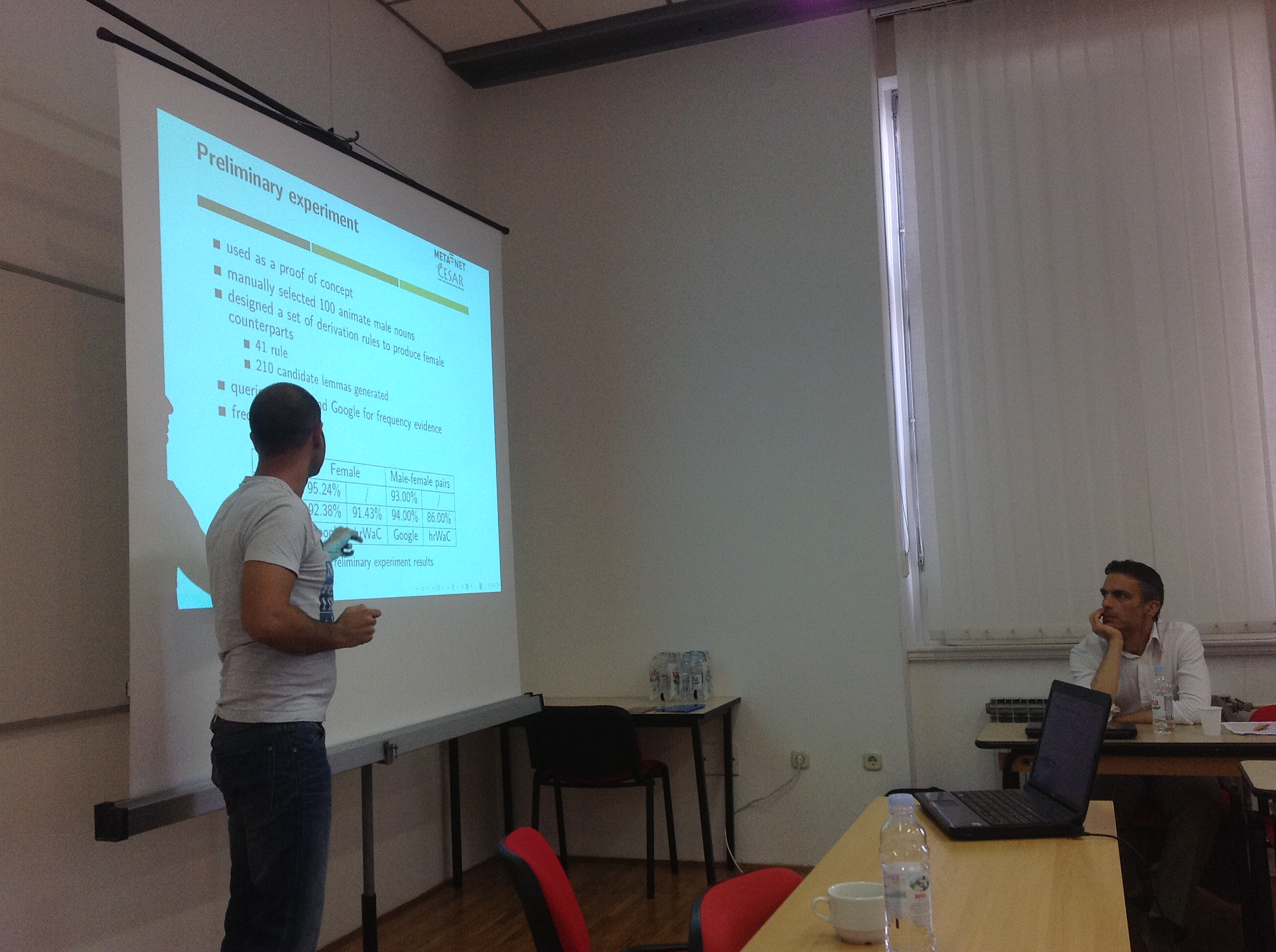 Željko Agić presenting a paper Automatic Enrichment of Croatian Morphological Lexicon Using Large Corpora and Web Search